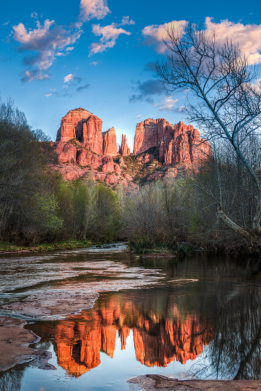 Sedona, Arizona, Cathedral Rock, Oak River, Sunset